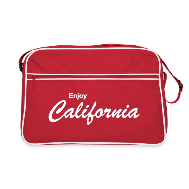 """Retro-Tasche """"ENJOY CALIFORNIA"""" rot/weiß"""