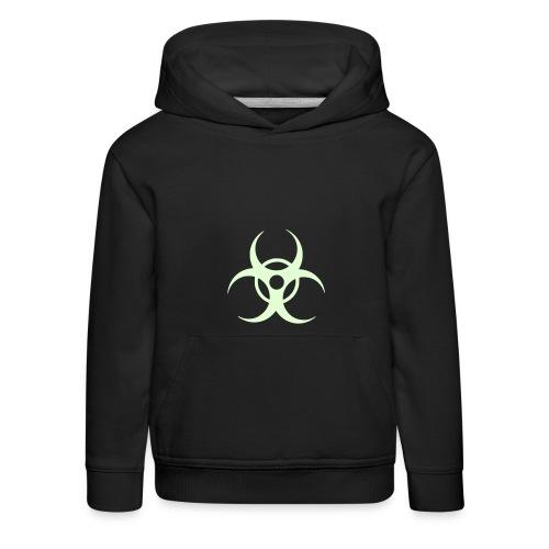 Kids Hooded Sweatshirt in Navy with Biohazard symbol. - Kids' Premium Hoodie