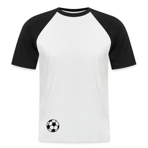 Men's White/Black sleeved Tee with Football design. - Men's Baseball T-Shirt