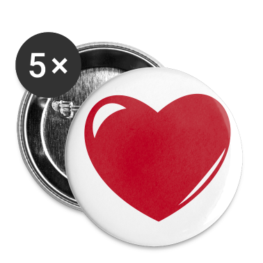 White Heart Buttons