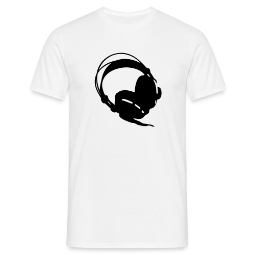 Headphones with Sound Engineer on back - Men's T-Shirt