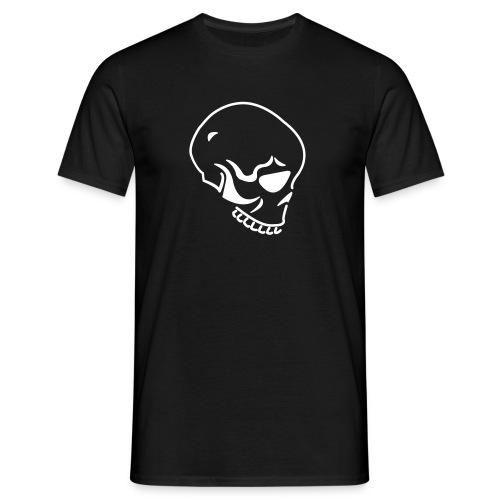Skull-Shirt, schwarz, weißes Flock-Motiv - Männer T-Shirt