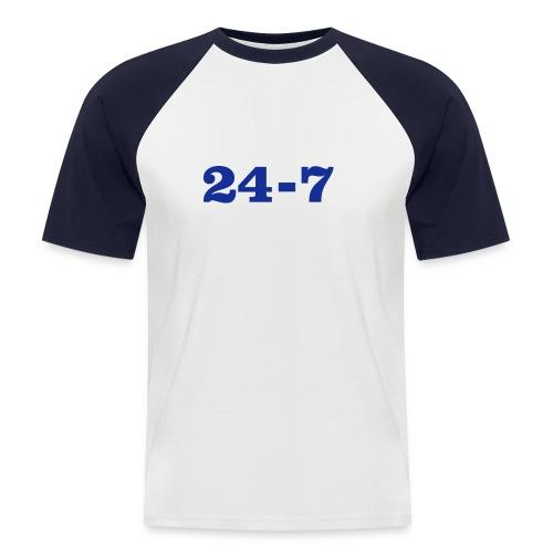 24-7-Shirt, weiß/navy, blaues Flock-Motiv - Männer Baseball-T-Shirt