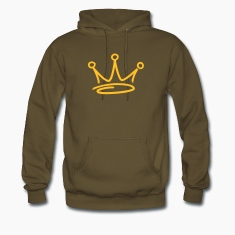 Brown graffiti style crown hoodie