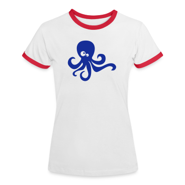 White/red Funny octopus Women's Tees (short sleeved)