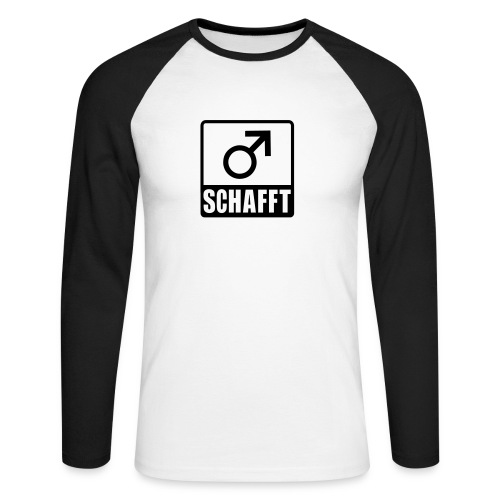 Baseballshirt Mannschafft weiß-schwarz - Männer Baseballshirt langarm