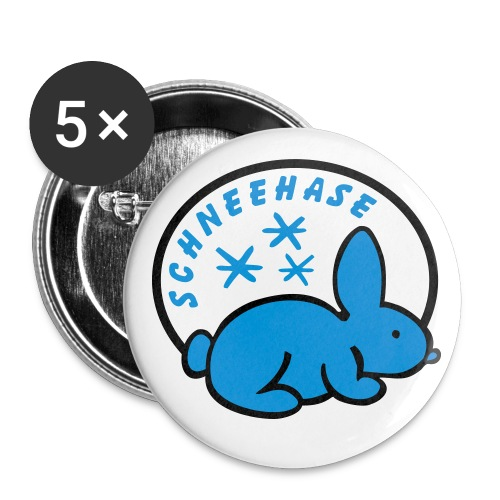 Schneehase 01 - 2farb - Buttons groß 56 mm (5er Pack)