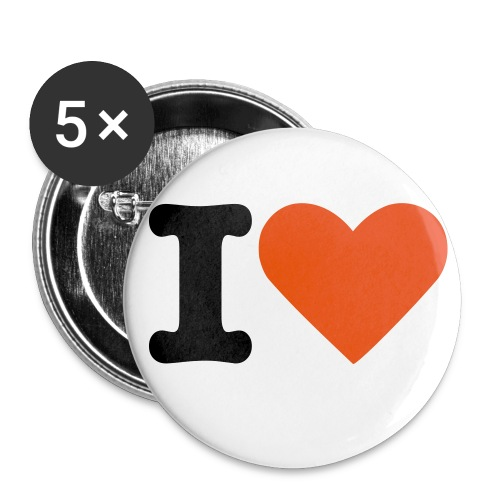 I love button - Buttons middel 32 mm (5-pack)