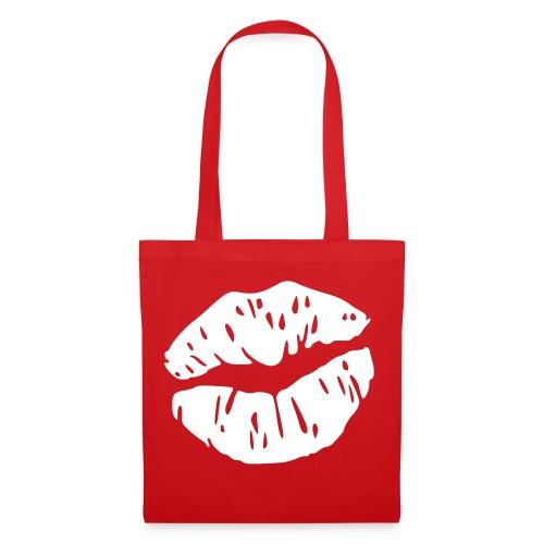 SAC ROUGE motif BAISER BLANC - Tote Bag