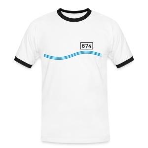 Rheinkilometer 674 - Männer Kontrast-T-Shirt