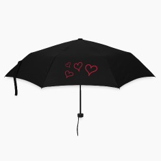 Black Flying Hearts Umbrellas