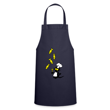 Navy cat and fish  Aprons