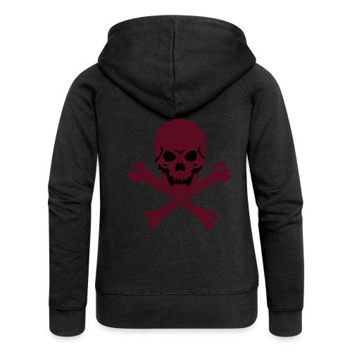 Svart genser med rødt hodeskalle bak og anarki merke venstre side av hette. - Premium hettejakke for kvinner