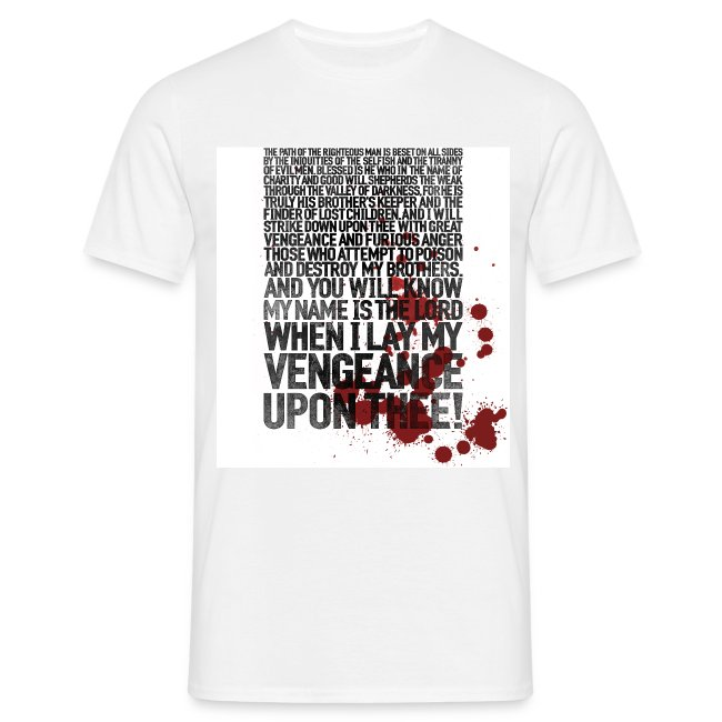 552a251d donroboto   Pulp Fiction: Bloody Ezekiel 25:17 - Mens T-Shirt