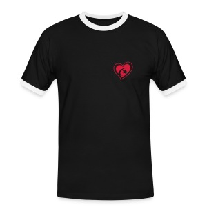 Men's Red Heart Slim Contrast T-Shirt - Men's Ringer Shirt