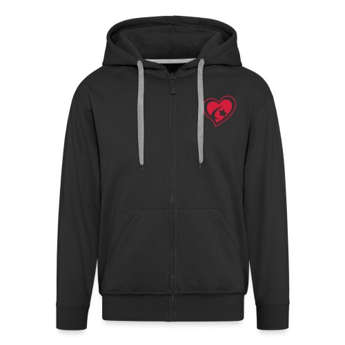 Men's Red Heart Hooded Jacket - Men's Premium Hooded Jacket