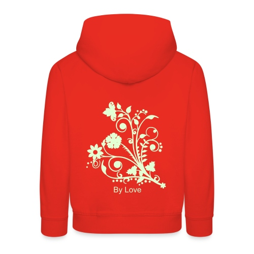 By Love - Girls Red Front an Back Hoodie (with glow in the dark design) - Kids' Premium Hoodie