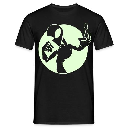 Alien Fuck U - Självlysande tryck - T-shirt herr