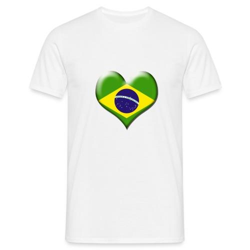 Brazil Heart Flag - Men's T-Shirt