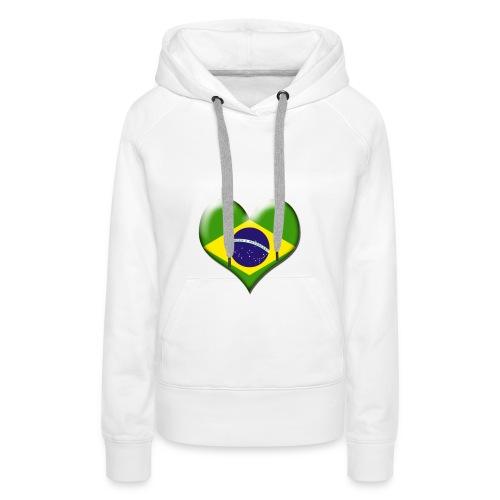 Brazil Heart Flag - Women's Premium Hoodie