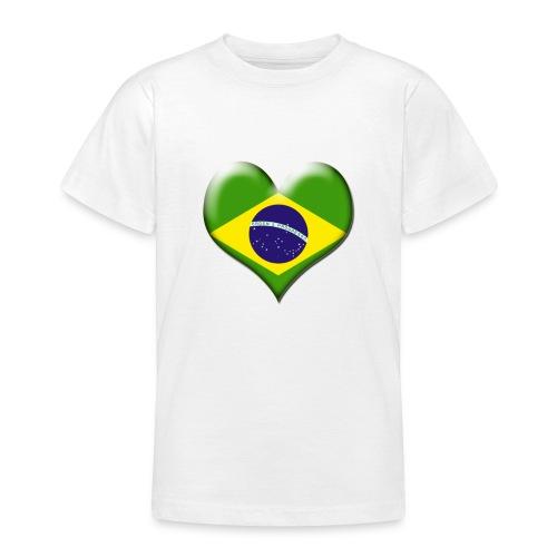 Brazil Heart Flag - Teenage T-shirt