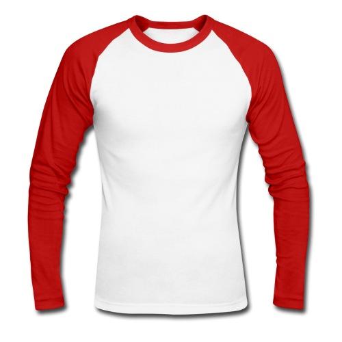 Biało-czerwona koszulka męska z długim rękawem - Koszulka męska bejsbolowa z długim rękawem