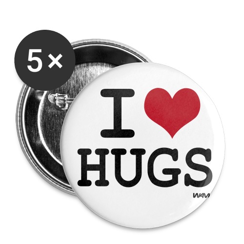 I LOVE HUGS - Stor pin 56 mm (5-er pakke)