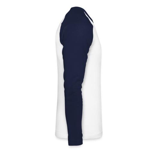 Wht/blu long tee - Langærmet herre-baseballshirt