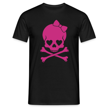 Black Girlie Skull Men's T-Shirts