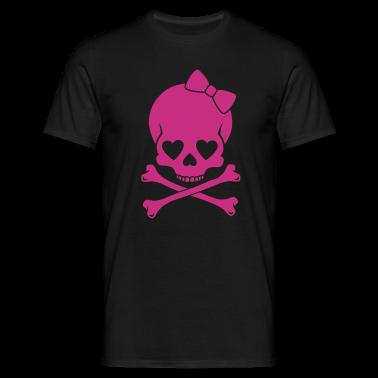 Black Girlie Skull Men's T-Shirts
