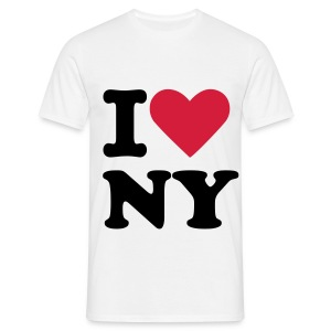 T-shirt Homme - t-shirt blanc col rond inscription i love NY