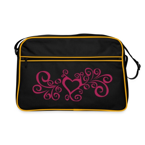Swirly heart - Pink print - Retro Bag