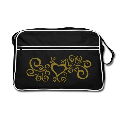 Swirly heart - Gold print - Retro Bag