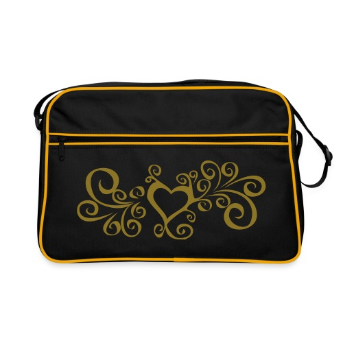 Swirly heart - Gold print - Retro Bag
