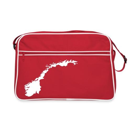 Rød Veske med hvitt Norge formet land. - Retro veske