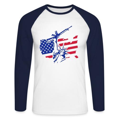 Free US - Koszulka męska bejsbolowa z długim rękawem
