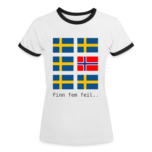 Finn fem feil.. - Kontrast-T-skjorte for kvinner