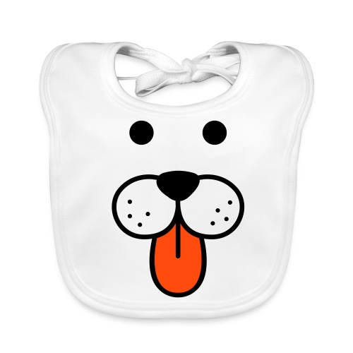 Doggy face white baby bib - Baby Organic Bib