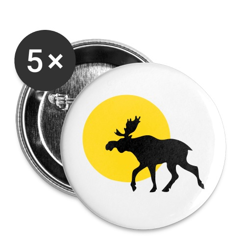 Elch Sonne Button - Buttons groß 56 mm (5er Pack)