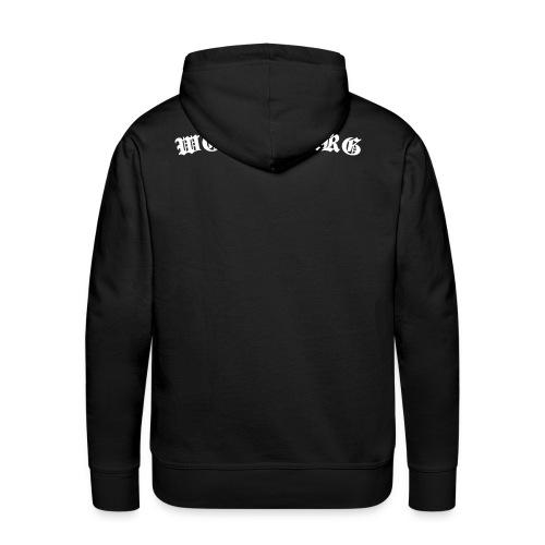 Wolfsburg altdeutsch, weißer Flock Rücken - Männer Premium Hoodie
