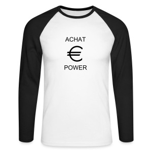 t-shirt achat power - T-shirt baseball manches longues Homme
