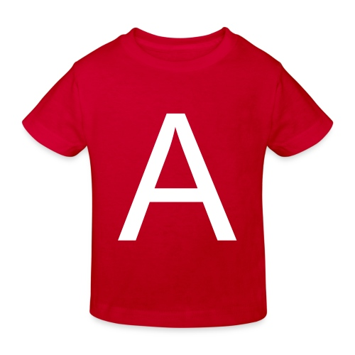 A is for Apple (White on Red) - Kids' Organic T-Shirt