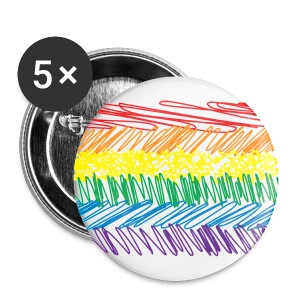 Rainbow Scribble x 5 - Buttons large 56 mm