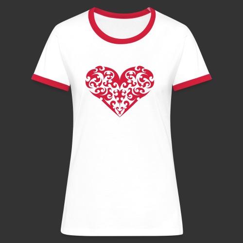 Herz - Frauen Kontrast-T-Shirt