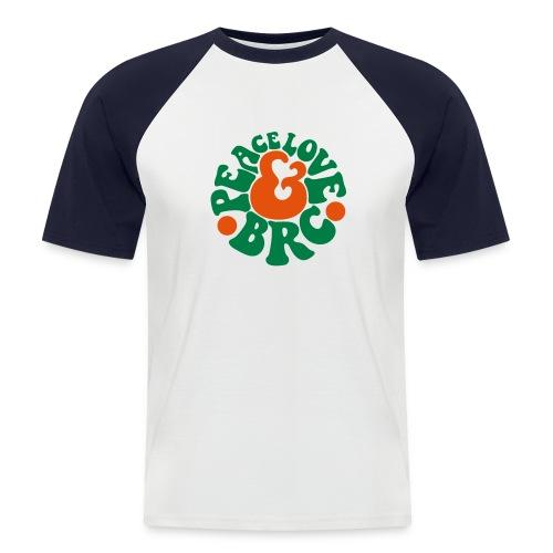 T-shirt Peace Love & BRC Vintage rouge orange vert - T-shirt baseball manches courtes Homme