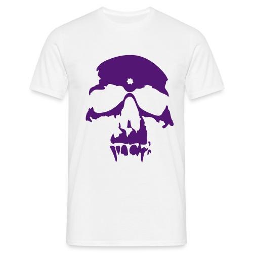 T-shirt Homme - tee shirt blanc homme logo tete de mort violet