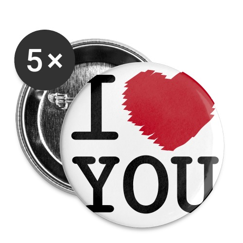 Button I LOVE YOU groot (5 pack) - Buttons groot 56 mm (5-pack)