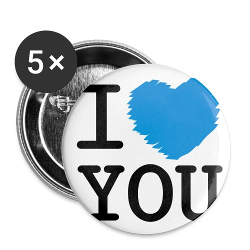 Button I LOVE YOU middel (5 pack) - Buttons middel 32 mm (5-pack)