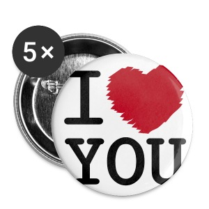 Button I LOVE YOU middel (5 pack) - Buttons middel 32 mm