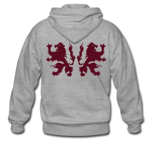 Double Lions - Burgundy red - Men's Premium Hooded Jacket